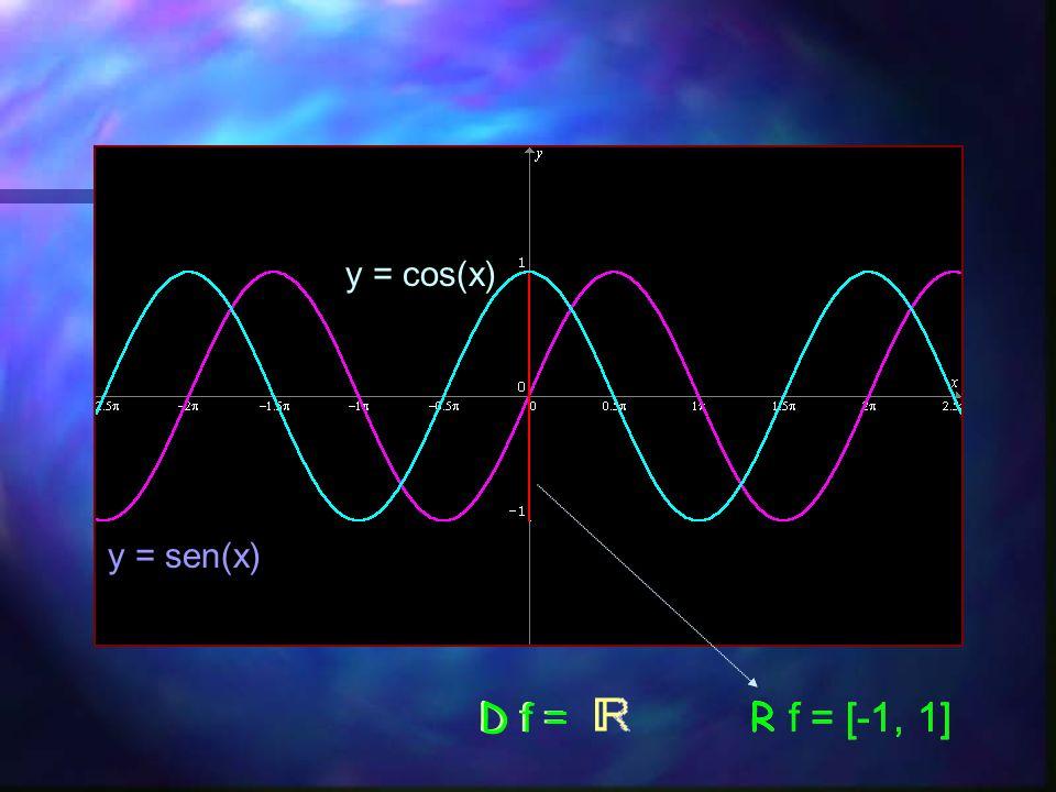 y = cos(x) y = sen(x) D f = D f = R f = [-1, 1] R f = [-1, 1]
